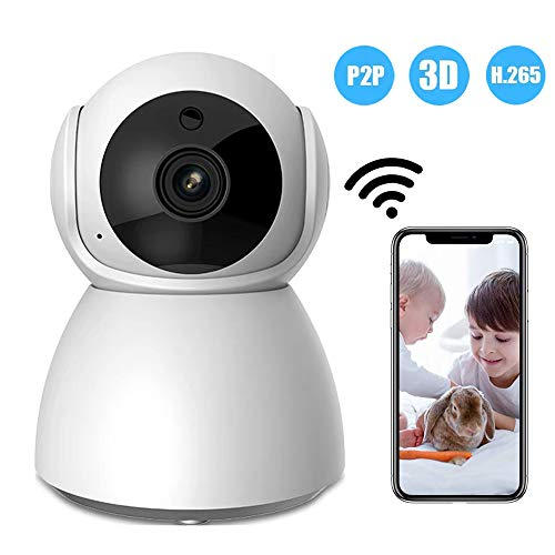 1080P Wifi Camera Full HD Remote Motion Detect Alert 2-weg Audio IR Nachtzicht voor Huisdier, Baby, Nanny Monitoring IP Camera met SD-Kaart, Wit, 32GSDcard