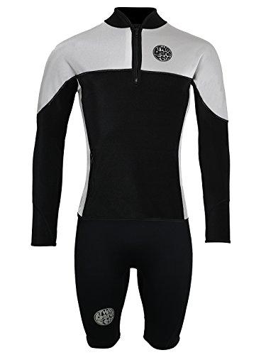 Two Nus Feet Combinaison de plongée thermique en peau de requin coupe-vent et imperméable pour homme, noir/gris, Jacket (S) + Shorts (2XL)