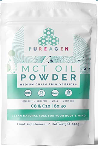 MCT Oil Powder | Ketogenic Coconut Creamer for Coffee | Vegan & Paleo, Keto | Dairy-Free & Gluten-Free | Sugar-Free | C8 & C10 | Pure & Natural Ingredients | Unflavoured | Easy to Digest | 250g