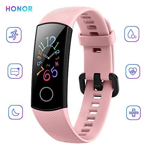 HONOR Band 5 Bracelet Intelligent 0,95'Grand Full Color AMOLED Affichage Fitness Surveillance Intelligente 5ATM Montre Smart Watch Imperméable À l'eau (Rose)