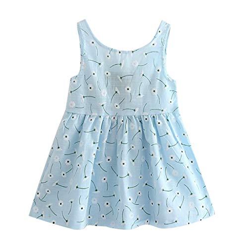 IMJONO Été Robe de Princesse Filles Coton Robe à Fleurs Bébé Fille Cadeau Enfants Fête Mariage sans Manches Robes pour 2020 Tenue d'été pour Enfants 2-7 Ans(Bleu Clair,2-3 Ans