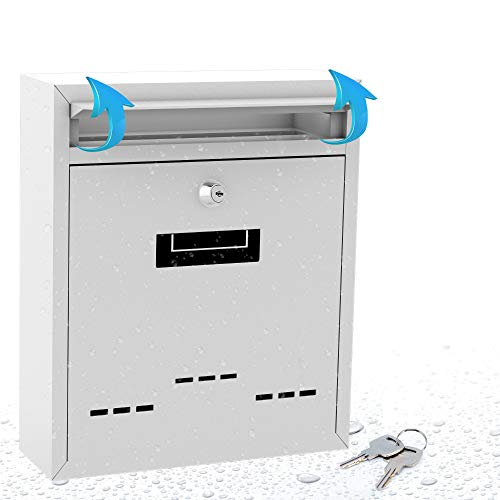 Modern Wall Mount Lockable Mailbox - Outdoor Galvanized Metal Key Large Capacity - Commercial Rural Home Decorative & Office Business Parcel Box Packages Drop Slot Secure Lock- Serenelife SLMAB04 , White , 10.2'' x 12.2'' x 3.6''