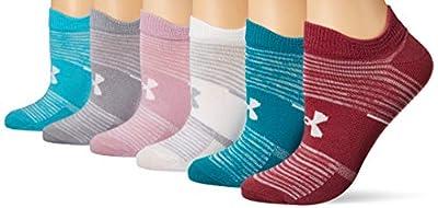 Under Armour Women's Essential 2.0 No Show Socks, 6-Pairs, Pink Quartz Stripe Assorted, Shoe Size: Womens 6-9