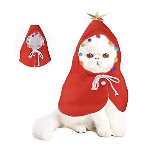 KATELUO Disfraz de Navidad para Mascotas, Disfraz de Gato de Navidad, Ropa de Gato de Navidad,Adecuado para Halloween, Navidad, Fiestas, Eventos Festivos. (S)