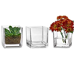 Silk Flower Arrangements PARNOO Set of 3 Glass Square Vases 4 x 4 Inch – Clear Cube Shape Flower Vase, Candle Holders - Perfect as a Wedding Centerpieces, Home Decoration