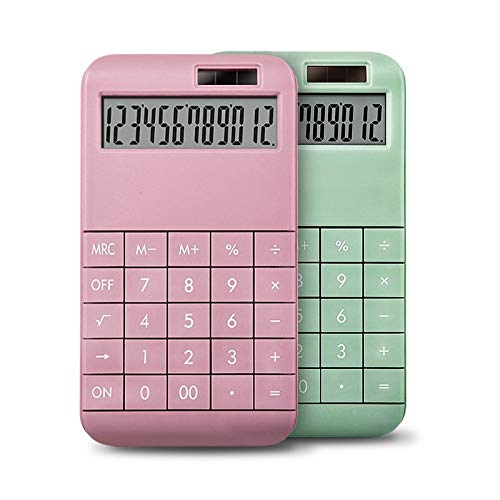 Electronic Calculator Solar Mini Caculator for Daily Study and Office with 12 Digit Large LCD Display Pink Green (Color : Pink)