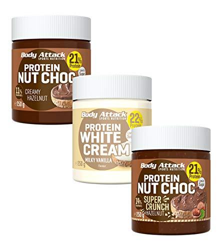 Body Attack Protein Nut Choc, Nuss-Nougat-Creme mit 21{5ab3e0e08609905f0b8aa7de0befdd1a305b37da2d145e4ff02664cb6f48fc78} Protein, Schokocreme ohne Zuckerzusatz mit echten Haselnüssen (Creamy Hazelnut, Super Crunch & Milky Vanilla, 3 x 250g)