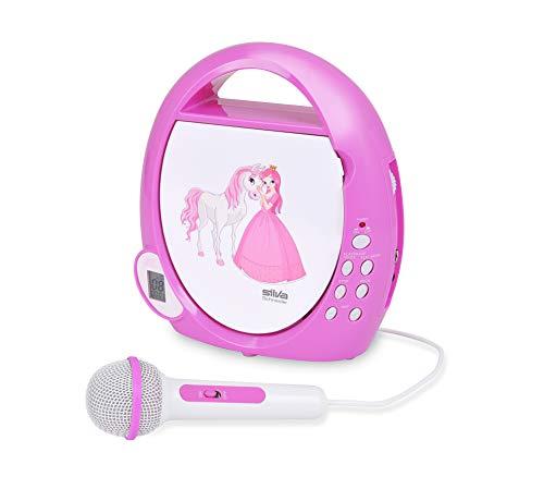 Silva Schneider Junior mini kinderen CD-speler AUX, CD Incl. microfoon wit-roze