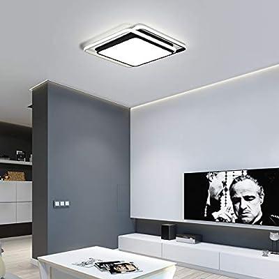 TYOLOMZ Moderne Carré Blanc/Noir LED Plafonnier Salle De Bains Plafonnier Cuisine Éclairage Chambre Luminaire Éclairage À La Maison [Classe énergétique A+]