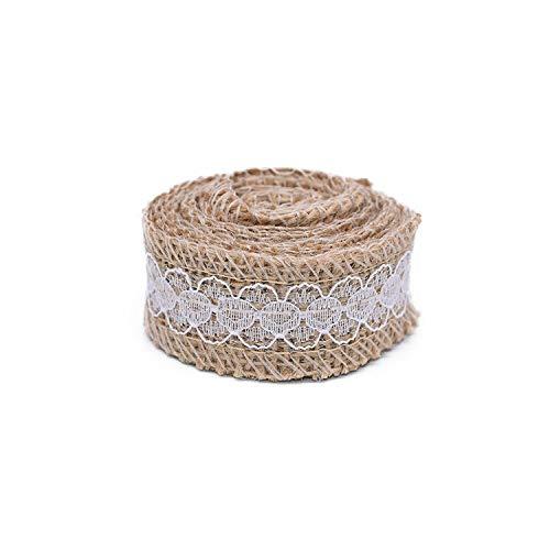 Cinta de costura de 2 m de encaje de yute natural, yute con encaje blanco, decoración de fiesta de boda, decoración rústica, regalo para embalaje/envase T01
