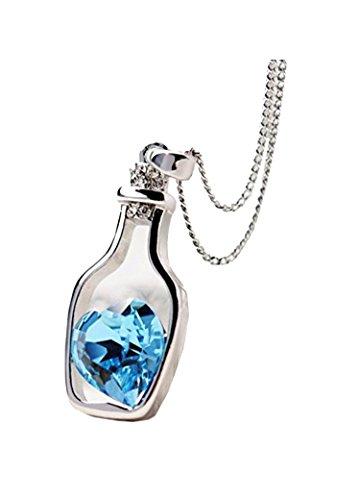 DDLBiz Collana Donna, Donna moda amore popolare Drift bottiglie di cristallo lunga collana (blu)