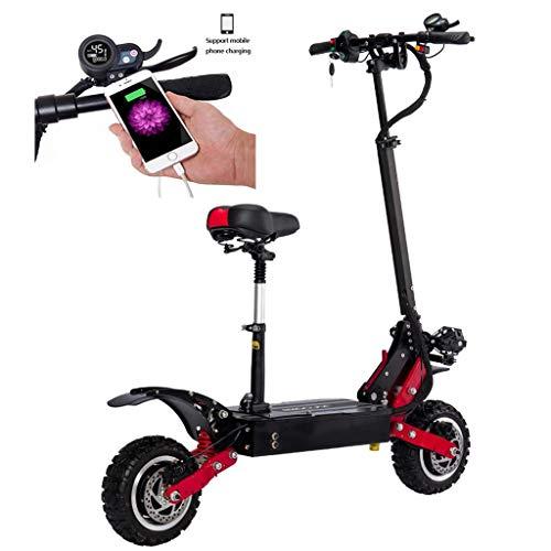 Patinete Eléctrico E Scooter Plegable, Scooter para Adultos y Adolescentes Potente Motor, Velocidad Máx 85km/h,70km,2 * 2800 Vatios, Altura del Manillar Ajustable, 60V 21AH