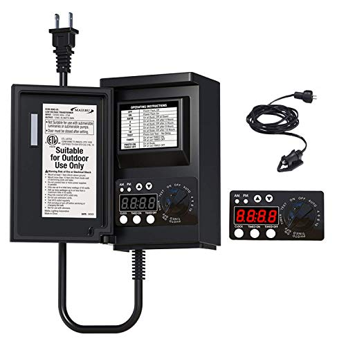 Malibu 45W Low Voltage Transformer, Landscape Lighting Power Supply for Indoor and Outdoor Use 120v to 12v Timer with Photo Eye