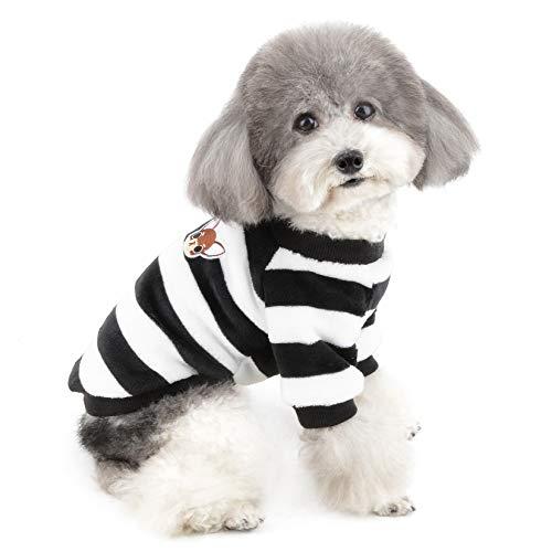 ZUNEA Kleine Hundepullover Wintermantel Warm Fleece Welpenkleidung Gestreifte Sweater Jacke Super Weicher Samt Kaltes Wetter Chihuahua Katzen Bekleidung für Haustier Hunde Mädchen Jungen Schwarz M
