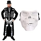 James Bone Costume squelette pour homme + cravate à imprimé squelette + chapeau haut de...