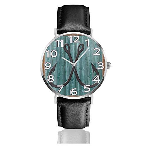Reloj de Pulsera Señuelos de Pesca Moderno Abstracto Durable Correa de Cuero de PU Relojes de Negocios de Cuarzo Reloj de Pulsera Informal Unisex
