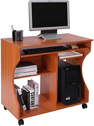 Escritorio de Oficina móvil para computadora con Teclado Deslizante con Ruedas Madera de Cerezo
