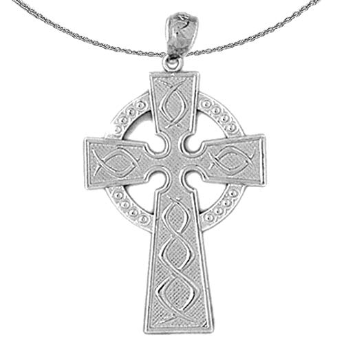 Jewels Obsession Gold Celtic Cross Necklace | 14K White Gold Celtic Cross Pendant with 18' Necklace