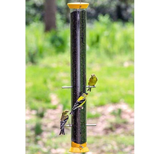 Droll Yankees New Generation Finch Flocker Bird Feeder, 23 Inches, 8 Ports, Yellow