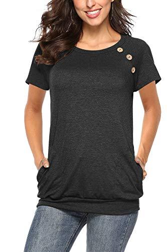 NICIAS Damen Sommer T-Shirt Kurzarm Oberteil Shirt Lässige Schaltflächen Hemd Bluse Tunika Top mit Taschen Schwarz Medium