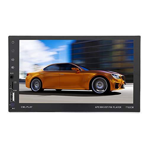 7.0'HD Car Radio, 7702CM Doble DIN Android Car Stereo Multimedia Reproductor MP5 Navegación GPS Soporte Manos Libres Enlace Espejo Cámara de visión Trasera Bluetooth TF USB AUX