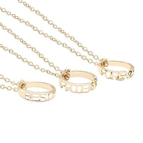 Mingjun 3 Piece Set BFF Necklace Best Friend Forever Pendant Necklace...