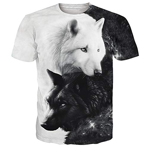 UNIFACO Men Women Boy Girl Unisex 3D Wolf T-Shirt Black and White Lightweight Quick Dry Casual Tees Top