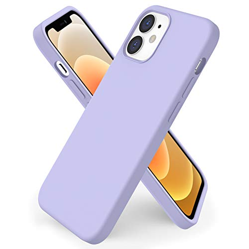 ORNARTO kompatibel mit iPhone 12 Mini 5,4 Silikon Hülle, Hülle Ultra Dünne Voller Schutz Flüssig Silikon Handyhülle Schutz für iPhone 12 Mini(2020) 5,4 Zoll Helles Lila