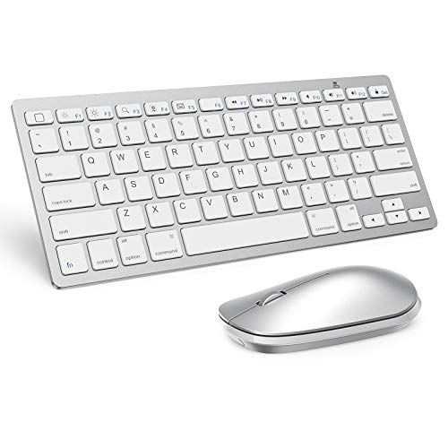 Wireless Keyboard and Mouse for iPad (iPadOS 13 and Above), SPARIN Bluetooth Keyboard and Mouse Compatible with iPad Pro 12.9 / iPad Pro 11 / iPad 10.2 (8th Gen) / iPad Air 4 / iPad Mini, Silver White