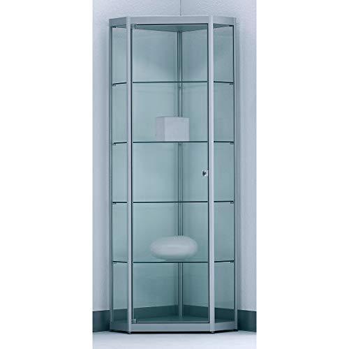 BST INSIDE 5-Eckvitrine - 4 Böden, mit Spiegelrückwand - HxBxT 1820 x 525 x 525 mm - Glasvitrine Präsentationsregal Präsentationsregale Sortimentskasten Vitrine Vitrinenschrank Vitrinenschränke