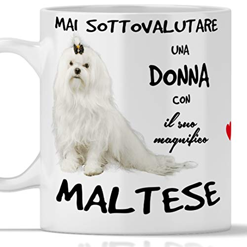 Taza Malta para desayuno, té, tisana, café, capuchino. Gadget taza nunca subestimar una mujer con un perro malté. Idea regalo original