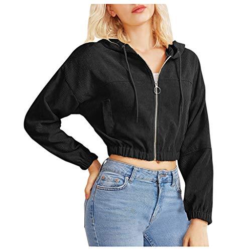 Women's Zip Up Cropped Hoodie Sweatshirt Drawstring Long Sleeve Casual Sports Workout Crop Top Hooded Jacket