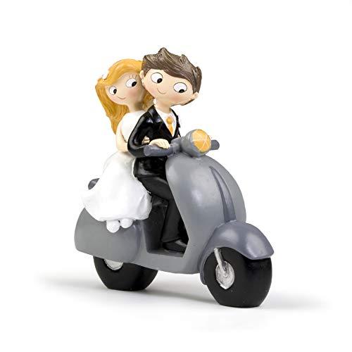 Mopec Figura de Pastel Pareja de Novios Pop & Fun en Moto, Blanco