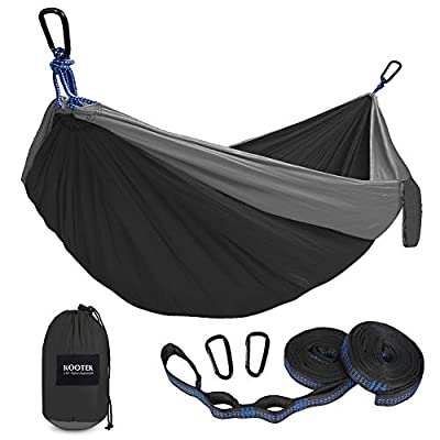 Kootek Camping Hammock Double & Single Portable Hammocks with 2 Tree Straps, Lightweight Nylon Parachute Hammocks for Backpacking, Travel, Beach, Backyard, Patio, Hiking