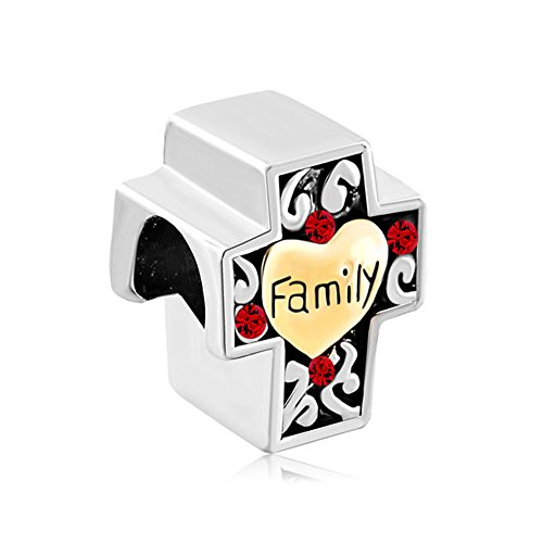 Charmed Craft Heart Love Family Religious Cross Charms or Sweet House Charms Beads for Bracelets (cross)