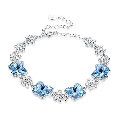 Nykkola - Pulsera brillante para mujeres y niñas con cristales de circonita cúbica y mariposa, auténtica plata de ley 925