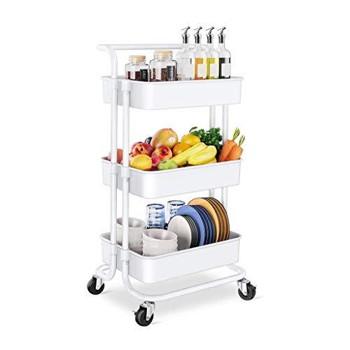 GFL Carro de Almacenamiento de Cocina, Carrito de Cocina de 3 Niveles con Bloquear Ruedas, para la Cocina, baño, Dormitorio de Almacenamiento (Color : White)