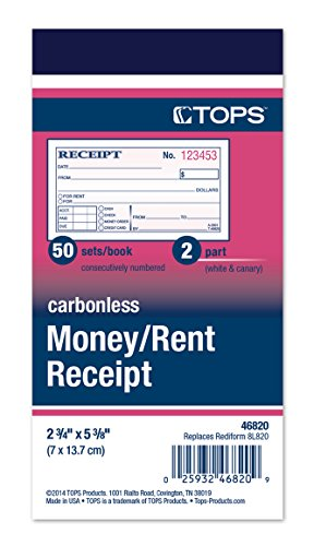 TOPS Money Receipt Book, 2-Part, Carbonless, 2 5/8 x 5 3/8 Inches, 50 Sheets, White and Canary,...