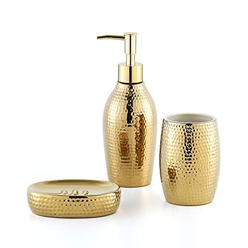 Creativefine Set da bagno, 3 pezzi, accessori da bagno in ceramica, dispenser per sapone, portasapone e bicchiere per spazzolino da denti, colore oro