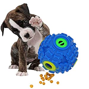FineInno Dog Food dispen Ding Feeder, Interactive IQ Treat Ball, Pressure Reducing Toy, Squeaky Indestructible for Dogs Chewers Tooth Cleaning Agressive S/M