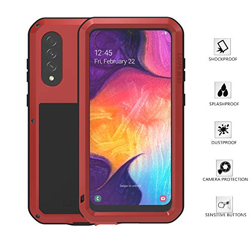 Samsung Galaxy A50 Case, Love Mei Aluminum Metal Gorilla Glass Waterproof Shockproof Military Heavy Duty Sturdy Protector Cover Hard Case for Samsung Galaxy A50 (Red, A50)