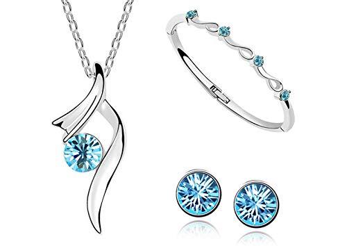 Junecat Jewelry Set Alloy Pendant Necklace Woman Choker Bangle Set Rhinestone Stud Earring Party Jewelry