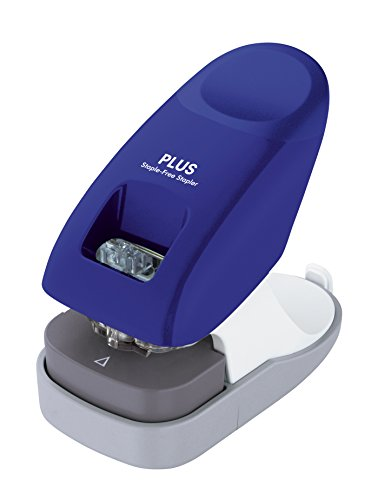 PLUS Japan, Klammerloser Hefter Schreibtischmodell in Blau, Heftleistung 10 Blatt, 1er Pack (1 x 1 Hefter)