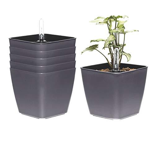 T4U Zelf Wateren Kunststof Planter met Liner Set, Moderne Decoratieve Kleine Planter Pot voor Huis Planten, Aloë, Kruiden, Afrikaanse Viooltjes, Vetplanten en Meer