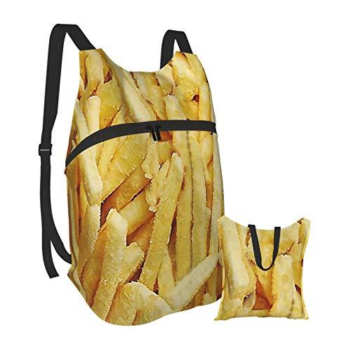 Risating Faltbarer tragbarer Rucksack für Männer und Frauen, Pommes Frites leicht, faltbar, Tagesrucksack, wasserdicht, langlebig, klein, leger, handlich, Outdoor-Tasche für Reisen und Einkaufen