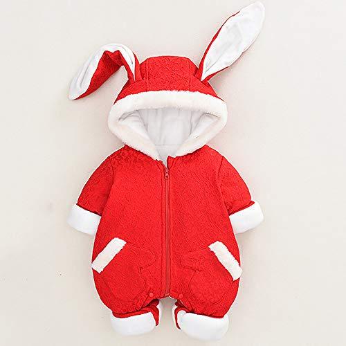 BXYY Baby-Overall-Hasenohren, Rote Neujahrskleidung, Verdickte Kletterkleidung,80cm