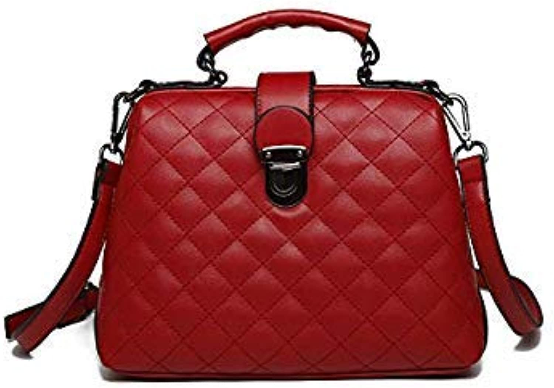 Bloomerang Tuladuo Luxury Bags for Women Plaid Handbag Designer Leather Tote Bag Reto Shoulder Bags Ladies Quilted Messenger Bag Black color red 28cm 13cm 20cm