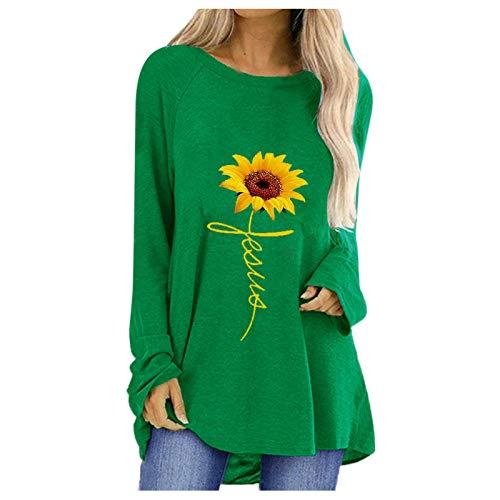 Plus tamaño de la Abeja de Las Mujeres impresión Camiseta de Manga Larga Camisetas Moda Casual Suelto Redondo Cuello Camiseta Blusa