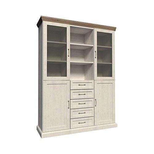 Furniture24 Vitrine ROYAL W2D, Schrank, Wohnzimmerschrank, 4 Türiger Highboard mit 4 Schubkästen, Anrichte, Kommode