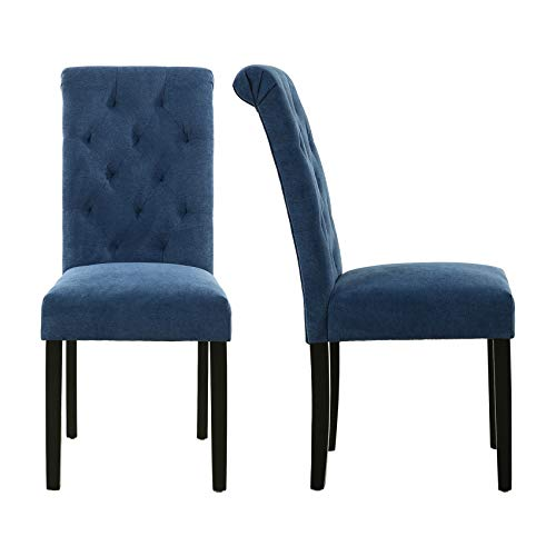 LSSBOUGHT Stylish Dining Room Chairs with Solid Wood Legs, Set of 2 (Blue)